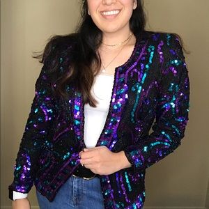 Vintage Blue & Purple Sequined Jacket Size L